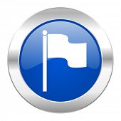 flag blue circle chrome web icon isolated