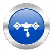 water blue circle chrome web icon isolated