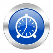alarm blue circle chrome web icon isolated