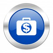 financial blue circle chrome web icon isolated