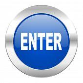 enter blue circle chrome web icon isolated
