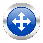 arrow blue circle chrome web icon isolated