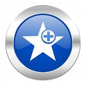 star blue circle chrome web icon isolated