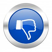 dislike blue circle chrome web icon isolated