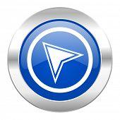 navigation blue circle chrome web icon isolated