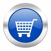 cart blue circle chrome web icon isolated