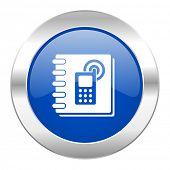 phonebook blue circle chrome web icon isolated