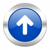 up arrow blue circle chrome web icon isolated