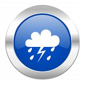 storm blue circle chrome web icon isolated