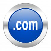 com blue circle chrome web icon isolated