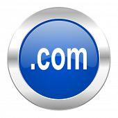 com blue circle chrome web icon isolated