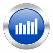 graph blue circle chrome web icon isolated