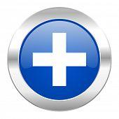 plus blue circle chrome web icon isolated