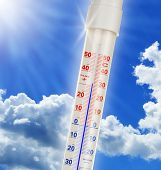 Alcohol Thermometer Over Blue Sky