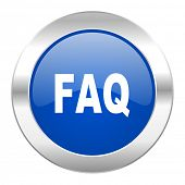 faq blue circle chrome web icon isolated