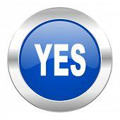 yes blue circle chrome web icon isolated