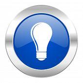 bulb blue circle chrome web icon isolated