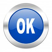 ok blue circle chrome web icon isolated