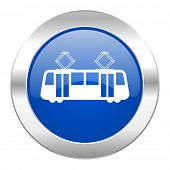 tram blue circle chrome web icon isolated
