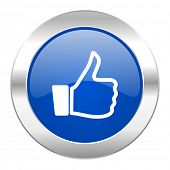 thumbs up blue circle chrome web icon isolated