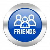 friends blue circle chrome web icon isolated