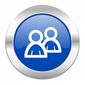 forum blue circle chrome web icon isolated