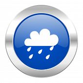 rain blue circle chrome web icon isolated