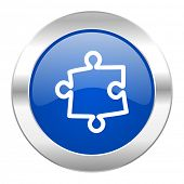puzzle blue circle chrome web icon isolated