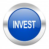 invest blue circle chrome web icon isolated