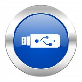 usb blue circle chrome web icon isolated