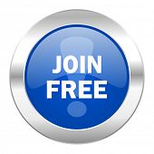 join free blue circle chrome web icon isolated