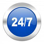 24/7 blue circle chrome web icon isolated