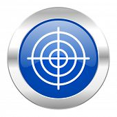 target blue circle chrome web icon isolated