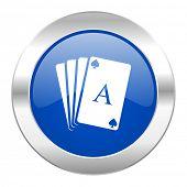 card blue circle chrome web icon isolated