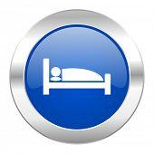 hotel blue circle chrome web icon isolated