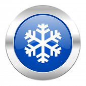snow blue circle chrome web icon isolated