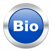 bio blue circle chrome web icon isolated