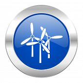 windmill blue circle chrome web icon isolated