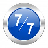 7 per 7 blue circle chrome web icon isolated