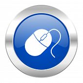mouse blue circle chrome web icon isolated