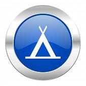 camp blue circle chrome web icon isolated