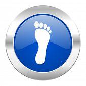 foot blue circle chrome web icon isolated