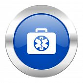 rescue kit blue circle chrome web icon isolated