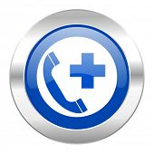 emergency call blue circle chrome web icon isolated
