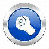 tools blue circle chrome web icon isolated