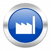 factory blue circle chrome web icon isolated