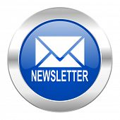 newsletter blue circle chrome web icon isolated