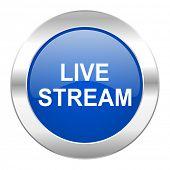 live stream blue circle chrome web icon isolated