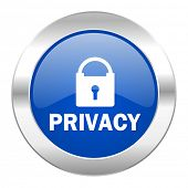 privacy blue circle chrome web icon isolated