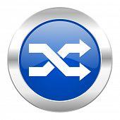 aleatory blue circle chrome web icon isolated